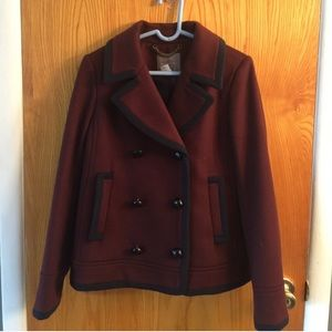 J Crew Tipped Wool Coat in Burgundy / Navy